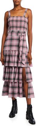LIKELY Paretti Tiered Plaid Dress w/ Matching Mask