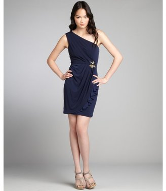Max & Cleo navy jersey knit bead embellished one-shoulder dress