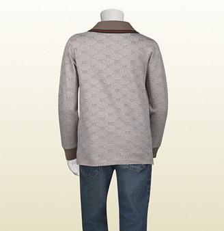 Gucci kid's tan and white GG jacquard cotton polo
