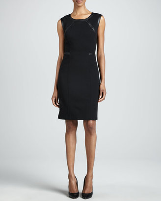 Lafayette 148 New York Overlook Leather-Trim Dress