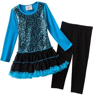 Knitworks sequin cheetah tutu dress and leggings set - girls 4-6x