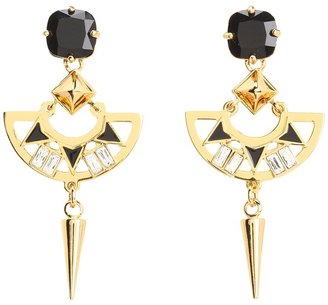 Juicy Couture Deco'd Out Deco Spike Drop Earrings (Gold) - Jewelry