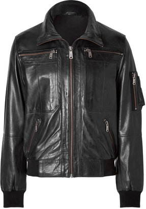 McQ by Alexander McQueen Leather Jacket in Velvet Black
