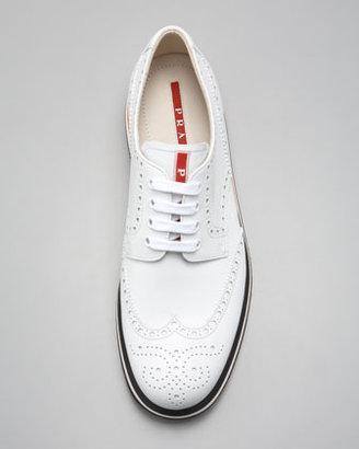 Prada Sneaker-Sole Wing-Tip, White