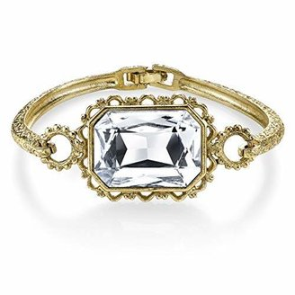 1928 Jewelry Gold-Tone Crystal Faceted Rectangle Clasp Bangle Bracelet