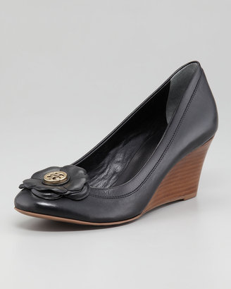Tory Burch Shelby Floral Logo Wedge, Black