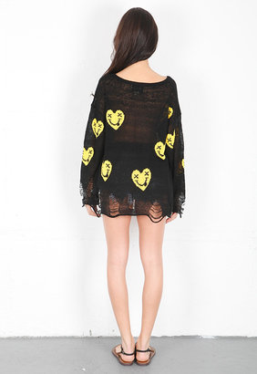Wildfox Couture Heart Face Ripped Sweater in Black