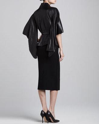 Oscar de la Renta Leather Ginza Jacket, Black