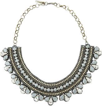 Deepa Gurnani Queen Elizabeth Two-Tone Collar Necklace, Silver
