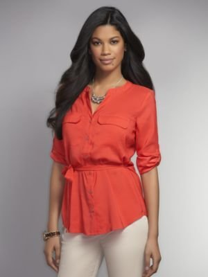 New York & Co. Safari-Style Button-Front Blouse
