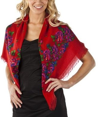 Square Floral Challis Scarf - Red