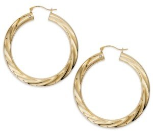 Signature Gold Diamond Accent Big Twist Hoop Earrings in 14k Gold over Resin