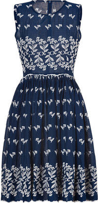 Collette Dinnigan Collette by Navy/Ivory Embroidered Cotton Dress