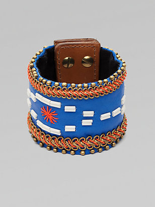 Fiona Paxton Stitched Leather and Chain Bracelet