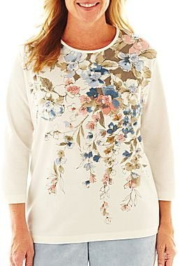 Alfred Dunner Ice Queen Asymmetrical Floral Knit Top - Plus