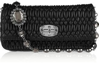 Miu Miu Crystal chain strap matelassé leather shoulder bag