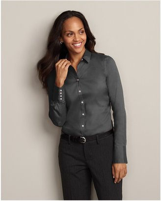 Eddie Bauer Wrinkle-Free Long-Sleeve Extended Cuff Solid Shirt