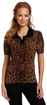 Sofie Women's 100% Cashmere Short Sleeve Animal Print Peter Pan Collar Sweater