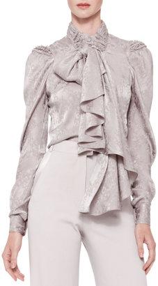Zac Posen Long-Sleeve Tie-Neck Blouse, Gray