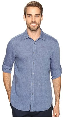 Perry Ellis Rolled Sleeve Solid Linen Shirt (Delft) Men's Clothing