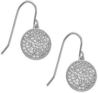 Swarovski Earrings, Rhodium-Plated Disc Clear Crystal Pave Drop Earrings