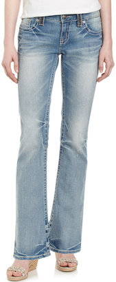 Miss Me Leather-Pocket Boot-Cut Jeans, Marigold, 31""