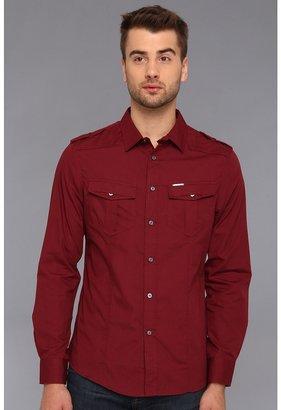 Ecko Unlimited Solid Poplin Military Woven Shirt (Wine) - Apparel
