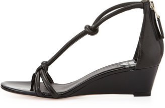 Brian Atwood B by Tonee Knotted Patent T-Strap Wedge Sandal, Black