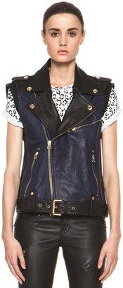 Balmain Pierre Leather Biker Vest in Black & Navy
