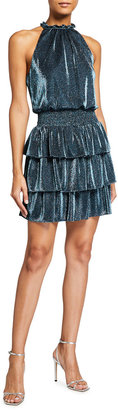 Aidan Mattox Metallic Ruffle-Hem Short Halter Dress