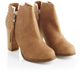 Fashion Union Tan Studded Heel Tassle/Zip Ankle Boot