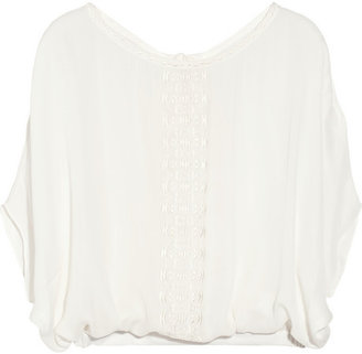 Chelsea Flower Embroidered silk tunic top