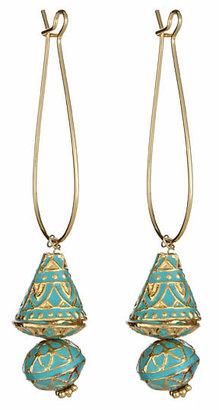 Taara Turquoise and Goldtone Drop Earrings