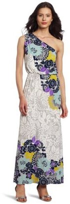 London Times Women's Printed Matte Jersey Maxi Dress
