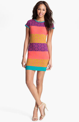 Nicole Miller Print Cap Sleeve Sheath Dress
