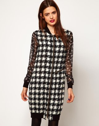 Asos Shift Dress In Dogtooth Print With Floral Sleeves