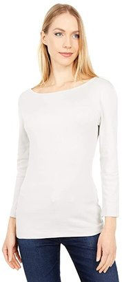 Three Dots 100% Cotton Heritage Knit 3/4 Sleeve British Tee (Ash Rose) Women's Long Sleeve Pullover