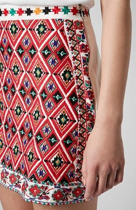 Topshop Embroidered Front A-Line Skirt