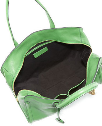 Alexander McQueen Skull Padlock Zip-Around Tote Bag, Green