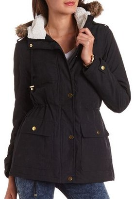 Charlotte Russe Hooded Cinch-Waist Jacket
