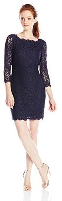 Adrianna Papell Women's Petite Long Sleeved Lace Dress
