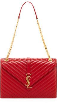 Saint Laurent Cassandre Quilted Flap Shoulder Bag, Rouge