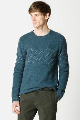 Lacoste Wool Blend Crew Neck Open Weave Pointelle Detail Sweater