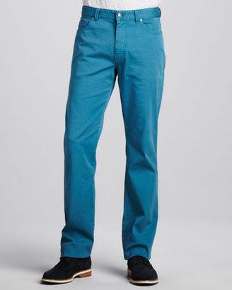 Ermenegildo Zegna Stretch-Twill Five-Pocket Pants, Petrol