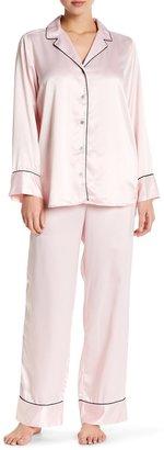 Natori Classic Long Sleeve Top & Pants Pajama 2-Piece Set