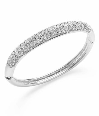 Charter Club Silver-Tone Clear Glass Pave Bangle
