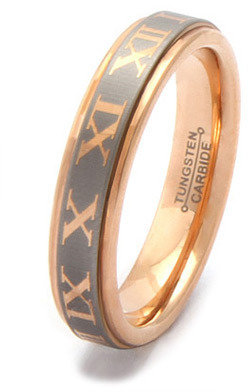 King Ice PLUTUS Rose Gold Roman Numeral Tungsten Carbide Ring