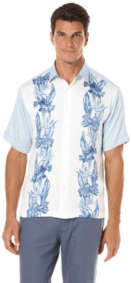 Cubavera Short Sleeve Color Block Floral Panel Shirt