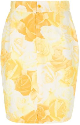 Versace Pre Owned Rose Print Pencil Skirt