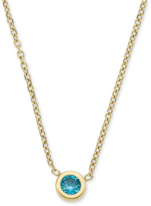Michael Kors Necklace, Gold-Tone Small Indicolite Cubic Zirconia Pendant Necklace (1/8 ct. t.w.)
